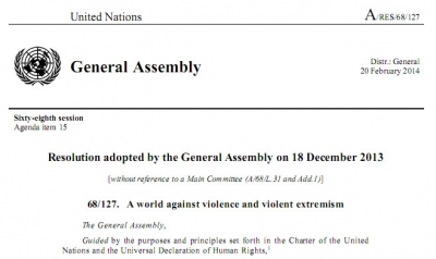 قطعنامه جهان علیه خشونت و افراط گرایی