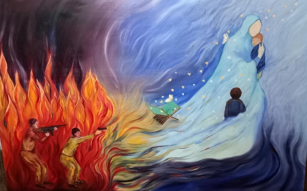 رونمایی از تابلوی غروب در غروب: روایت مظلومیت شهیده انیس نوری